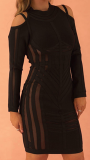 Laurina Black Long Sleeve Bandage Dress