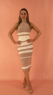 Marina High Neck Beige Bandage Dress