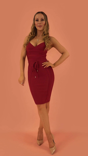 Lucinda Wine Red Bandage Dress