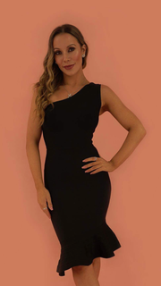 Asher Black One Shoulder Mermaid Bandage Dress