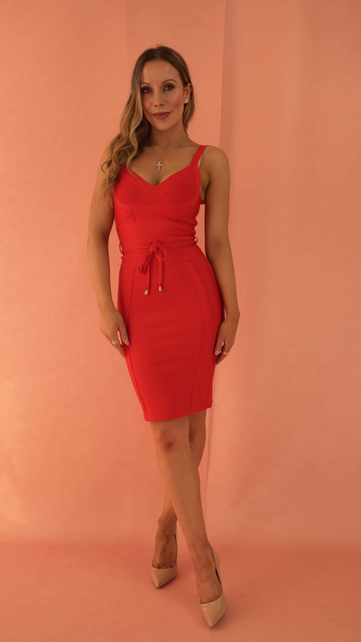 Lucinda Red Bandage Dress