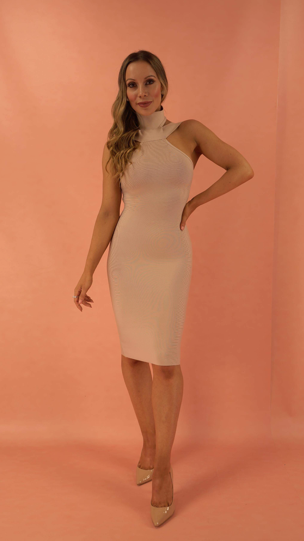 Valentina Beige Bandage Dress