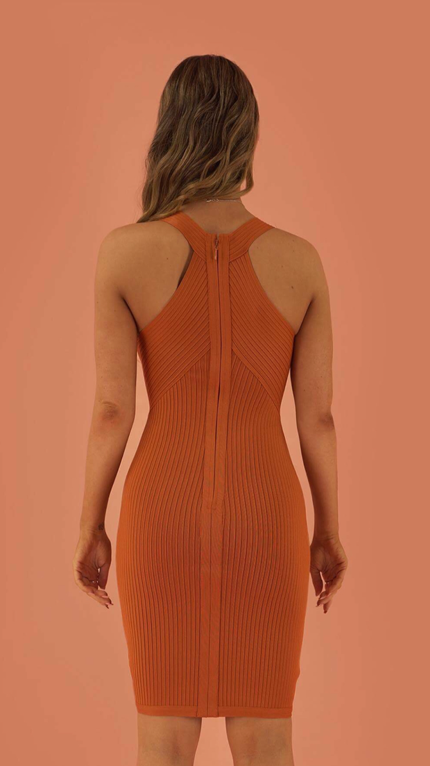 Ryland Orange Bandage Dress