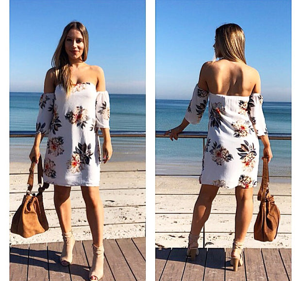 Walk the Line White Floral Dress