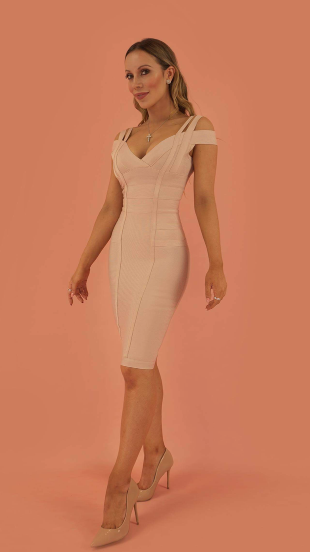 Audrey Beige Bandage Dress