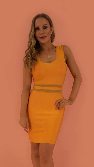 Adrienne Orange Bandage Dress