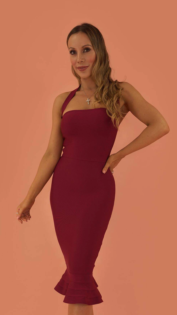 Prosperity Wine Bandage Dress
