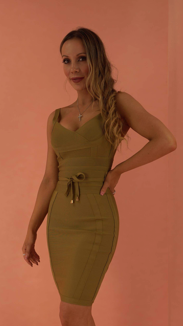 Lucinda Khaki Bandage Dress