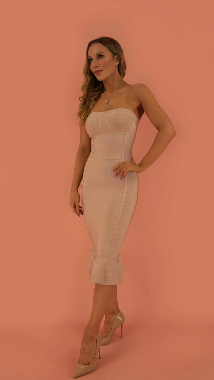 Seada Strapless Beige Bandage Dress