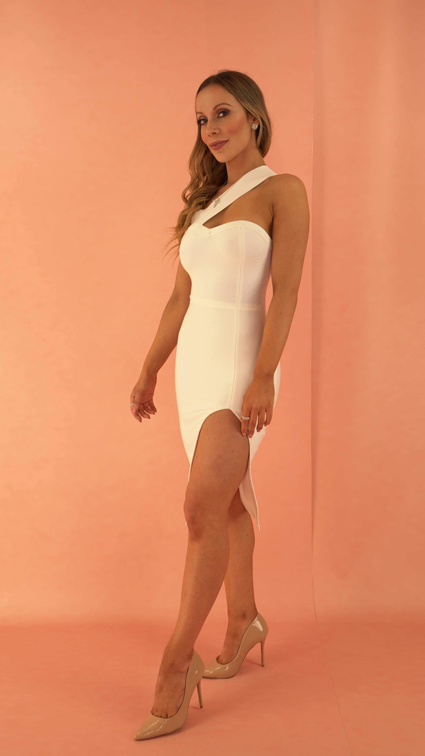 Isadora White Shoulder Bandage Dress