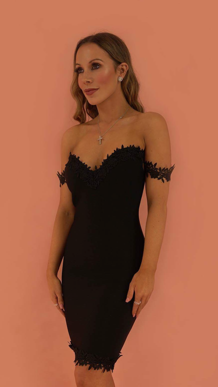 Imogen Black Lace Bandage Dress