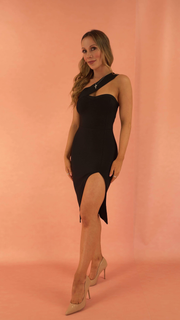 Isadora Black Shoulder Bandage Dress
