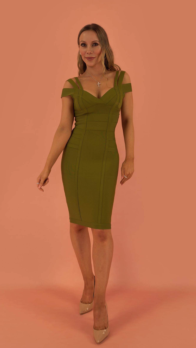 Audrey Khaki Bandage Dress