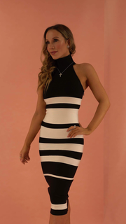 Marina High Neck Black Bandage Dress