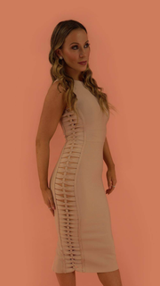 Saskia Beige Bandage Dress