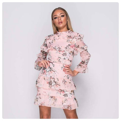 Passing By Pink Floral Boho Dress