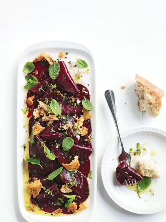 Beet Carpaccio with Crispy Feta and Mint