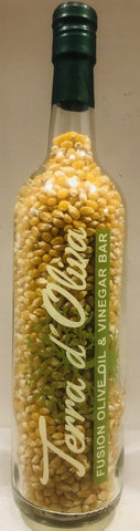 25.5 oz (750 ml ) Organic Non GMO Yellow Butterfly Popcorn Kernel in Custom Terra d Oliva Glass Bottle