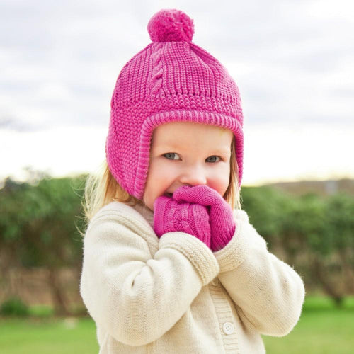 JoJo Maman Bebe Cable Knit Mittens in Fuchsia