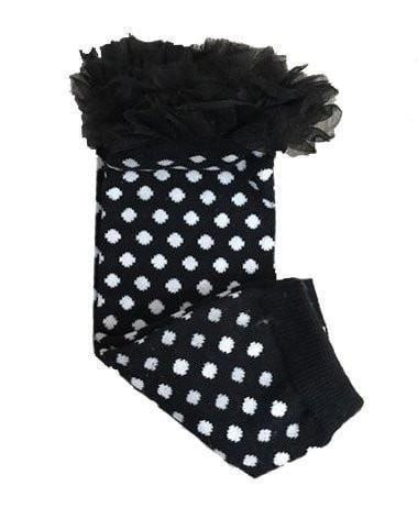 K&K Baby Black Polka Dot with Ruffle Leg Warmers-K&K Baby-Sweet as Sugar Children's Boutique