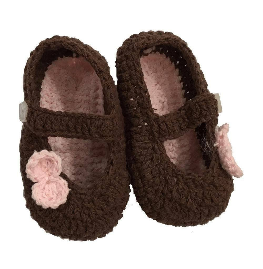K&K Baby Brown Baby Booties with Pink Bow-K&K Baby-Sweet as Sugar Children's Boutique