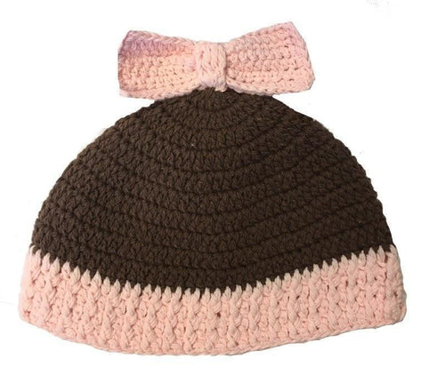 K&K Baby Pink and Brown Bow Hat-K&K Baby-Sweet as Sugar Children's Boutique