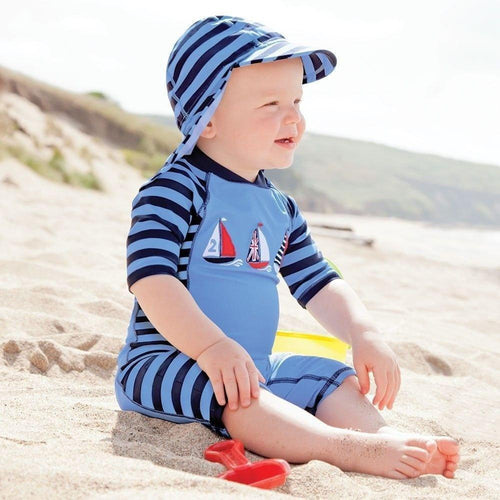 Outlet Jojo Maman Bebe Blue Stripe Sun Protection Suit-JoJo Maman Bebe-Sweet as Sugar Children's Boutique