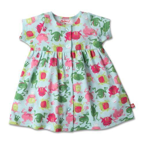 Zutano Frog Princess Short Sleeve Button Dress in Sky-Zutano-Sweet as Sugar Children's Boutique