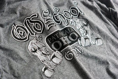 OSG Long Sleeve Hooded Tee Old School Gym Grey T-Shirt Graphic Detail