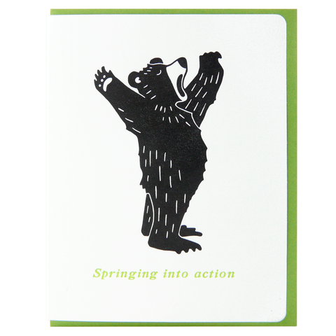 Springing into action bear