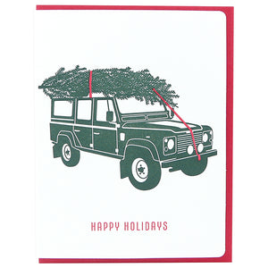 Happy Holidays Landrover Green