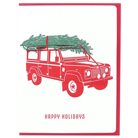 Happy Holidays Landrover Red