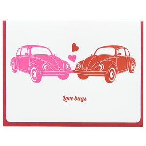 Love bugs two VW beetles looking at each other in pink and red with hearts letterpress card