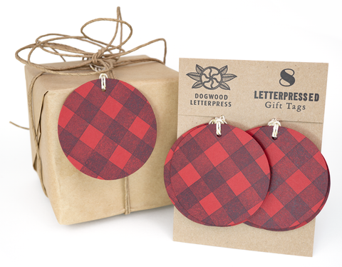 Red flannel gift tags