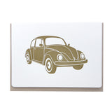 Gold Volkswagen 1960s VW Beetle letterpress card