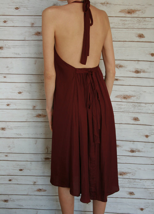 Burgandy Halter Dress