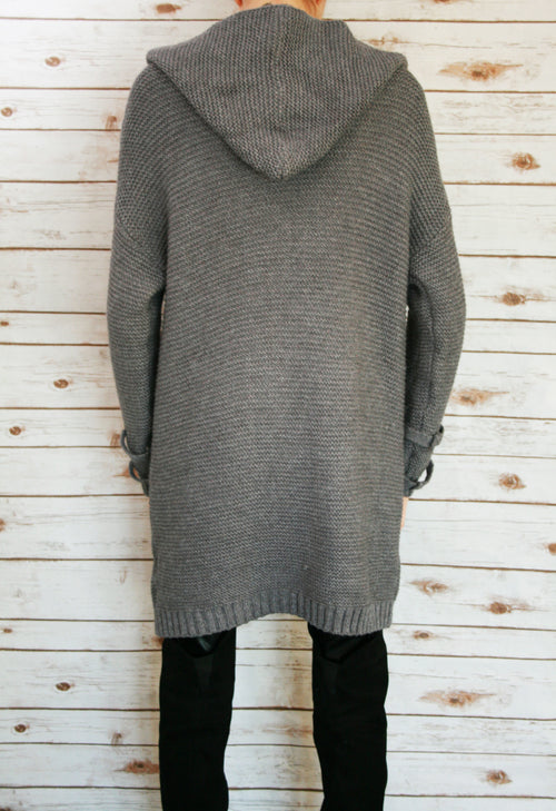 Grey Open Knit Cardigan