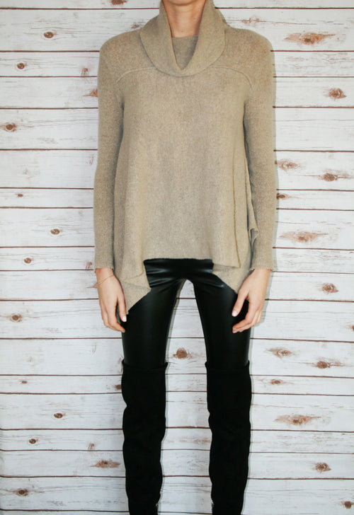 Tan Cowl Neck Sweater