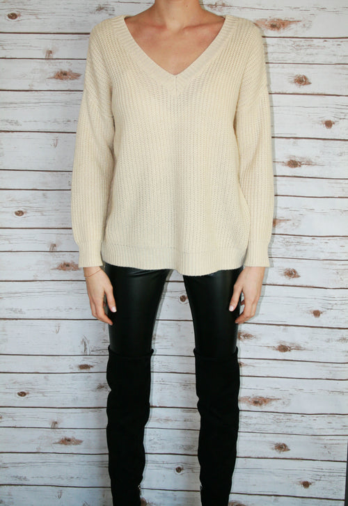 Cream Ribbed Sweater w/ Lace Up Back