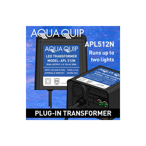 Aquaquip LED Transformer 2 x 30VA - Plug In - Poolshop.com.au