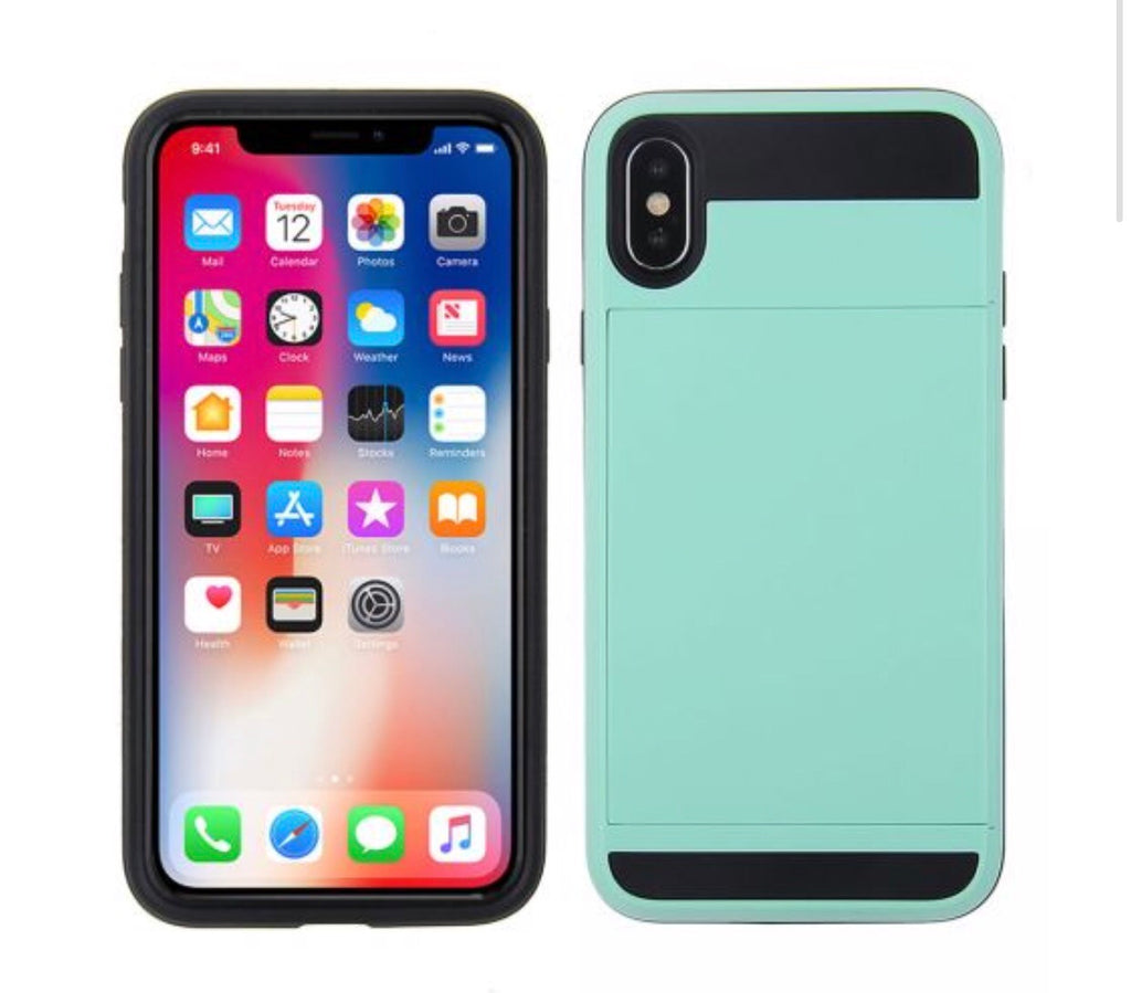 los angeles 61166 df0f3 iPhone X/XS credit card holder case- Tiffany Blue