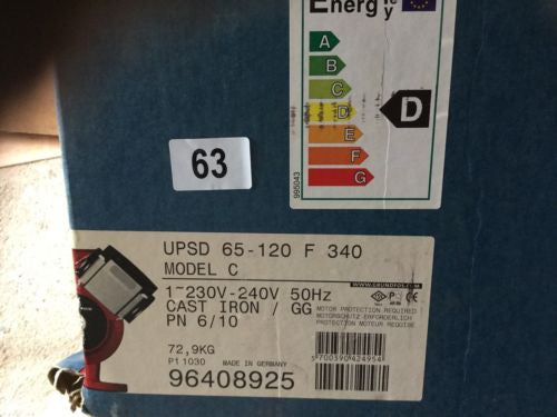 Grundfos UPSD 65-120/2 (340) Twin Head Commercial Circulator 240V #63