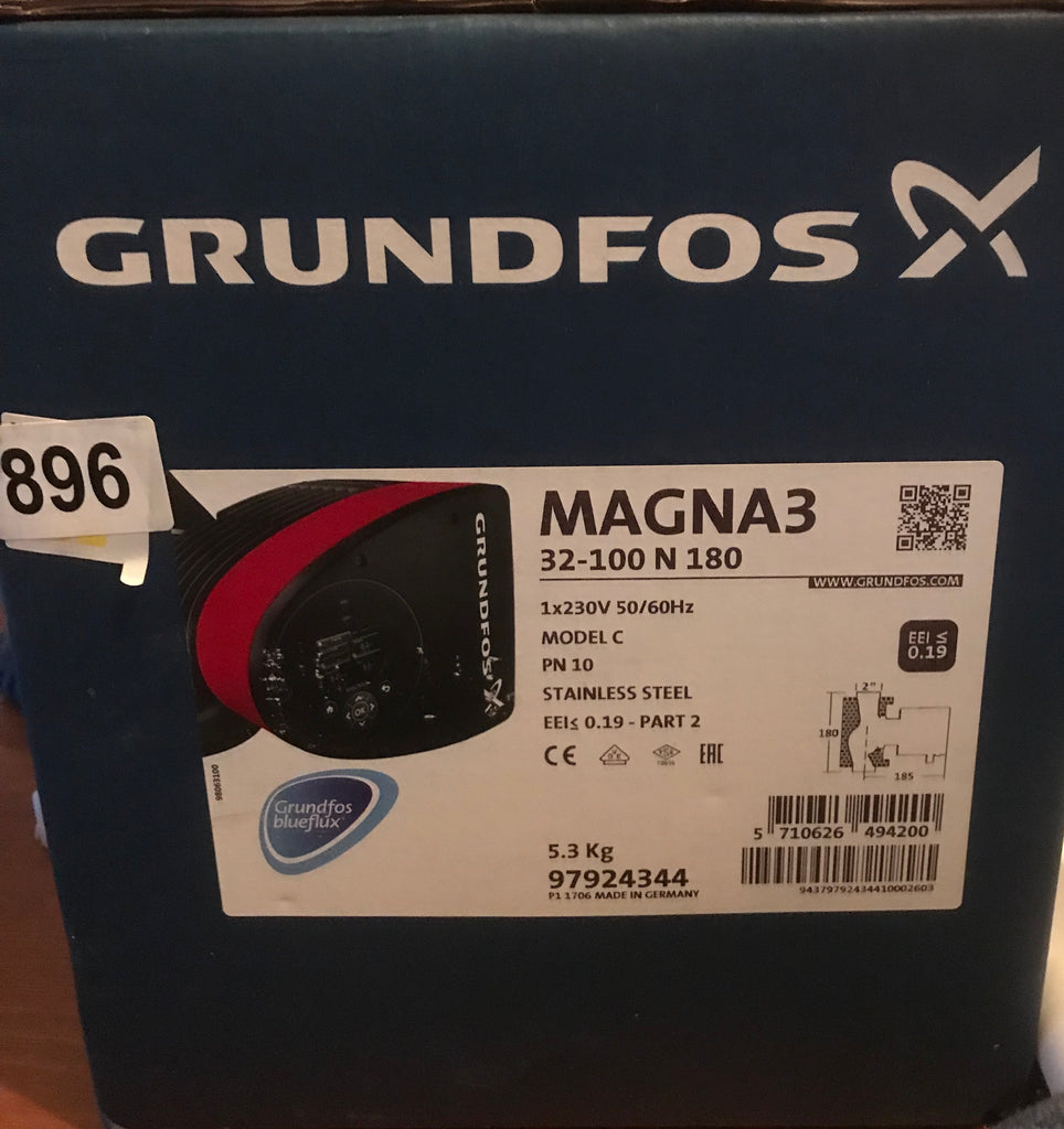 Grundfos Magna3 32-100 F N (180) 97924344 Variable Speed Hot Water Circulator Pump #896
