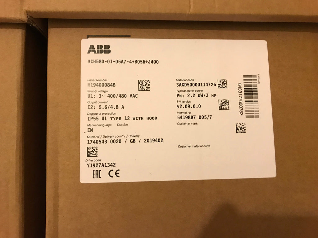 Asea Brown Boveri ABB ACH580-01-05A7-4 Inverter HVAC Variable Drive 2.2kw #1711
