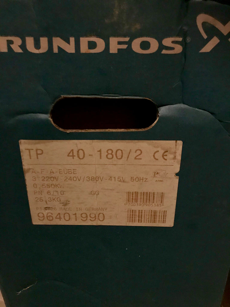 Grundfos TP 40-180/2 A F A BUBE 0.55kW Single Stage Single Head In Line Pump 415v 96401990 #1902