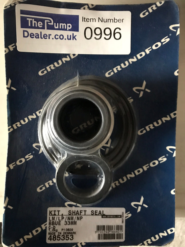 Grundfos 485353 LM / LP / NM / NP SHAFT SEAL AND GASKET KIT 33MM O RING TYPE (EPDM BELLOWS) BBUE STD #996