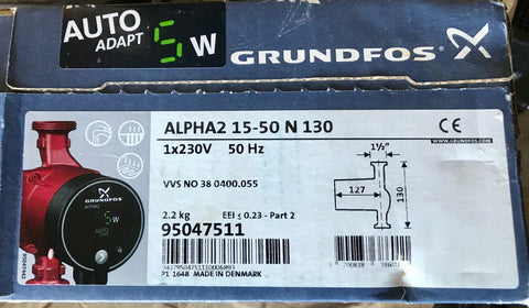 Grundfos Alpha2 15-50 N 130 95047511 Stainless Steel Hot Water Circulator #1971