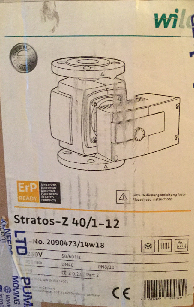 Wilo Stratos Z 40/1-12 Pn6 Pn10 230v Secondary Hot / Drinking Water 2090473 #365