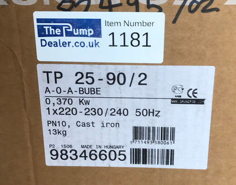 Grundfos TP 25-90/2 A O A BUBE In Line Single Stage Pump 98346605 230v #1181