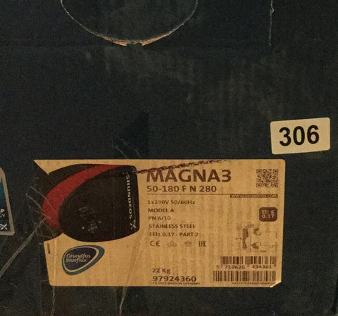 Grundfos Magna 3 50-180 FN (280) 97924360 Stainless Steel Hot Water Circulator #306